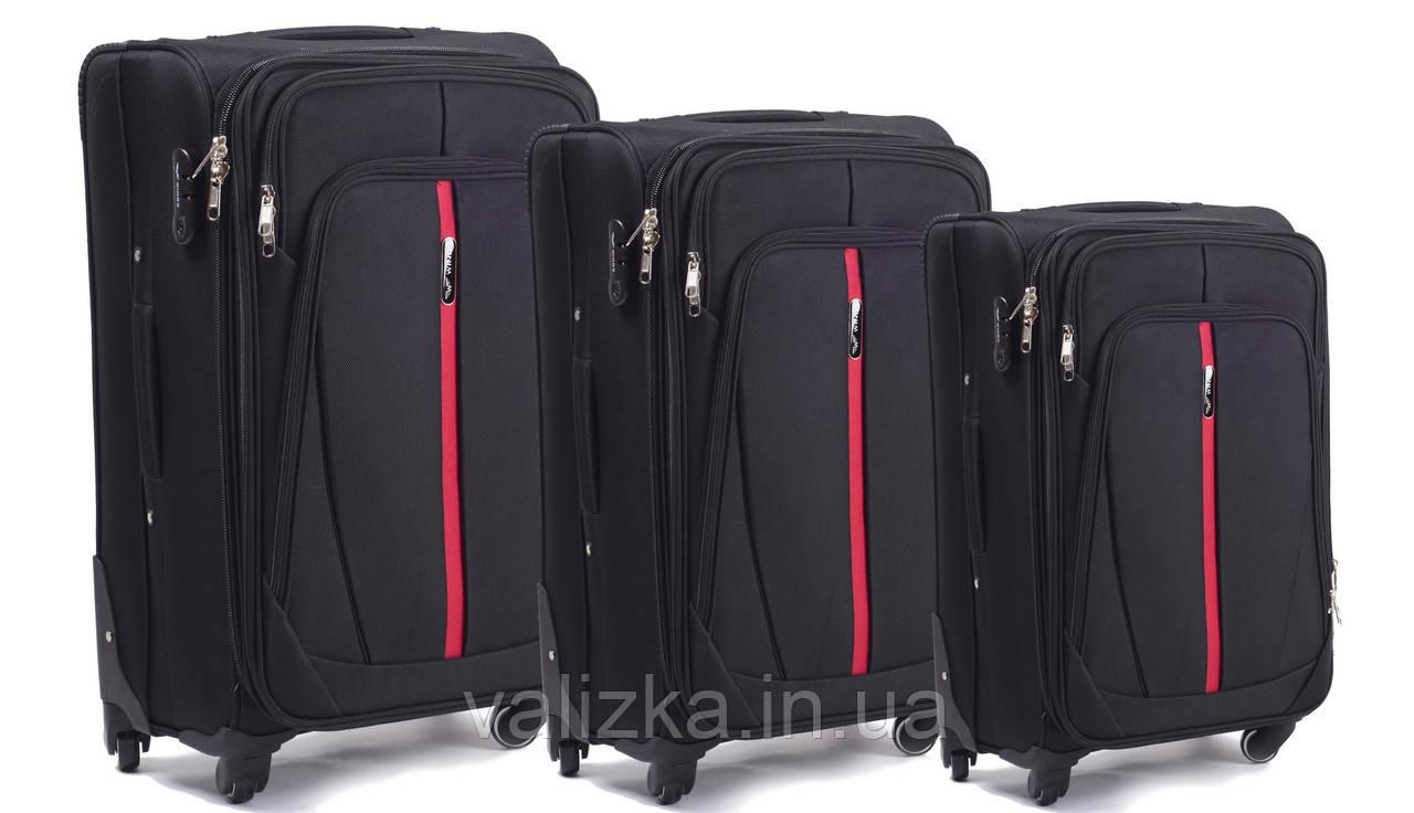 Комплект текстильных чемоданов для ручной клади, средний и большой на 4-х колесах Wings 1706 черный.