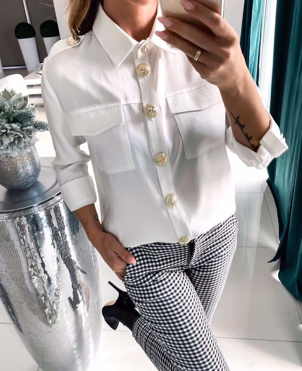 Женская белая рубашка из софта с пуговицами 40rz334