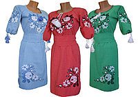 Красивое женское вышитая платье длиной до колен с рукавом 3/4 крупном размере, фото 1