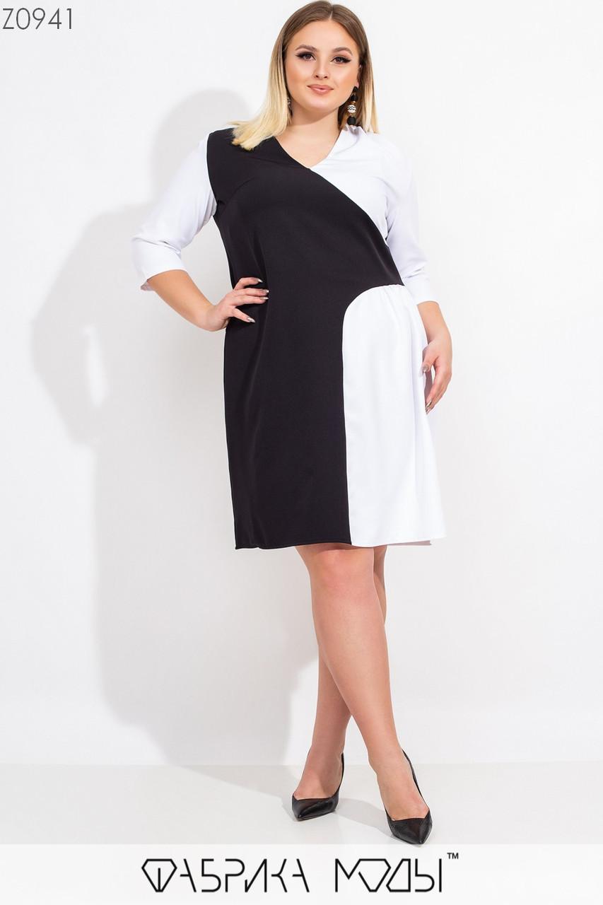 Прямое двухцветное платье в больших размерах с рукавом 3/4 1ba547