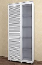Витрина с жалюзийными дверями из натурального дерева Тавол Сиеко 2Д2С4ПОЛС 1120х380х1770 Белый