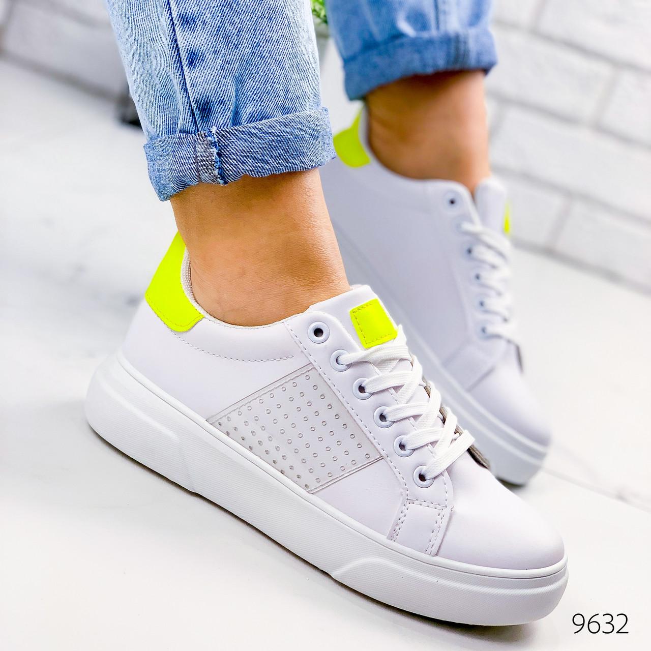 Женские кеды криперы кроссовки  белые с желтым