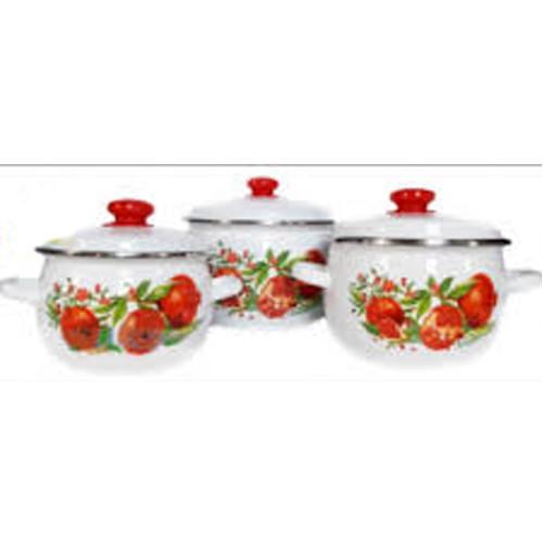 """Набор эмаль посуды №926 (3пр 2.5л 3.5л 5л ) """" Гранат"""" 0892  НМТЗ"""