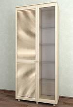 Витрина с жалюзийными дверями из натурального дерева Тавол Сиеко 2Д2С4ПОЛС 1120х380х1770 Молочный