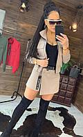 Женский костюм юбка - шорты и бомбер на молнии 44st504