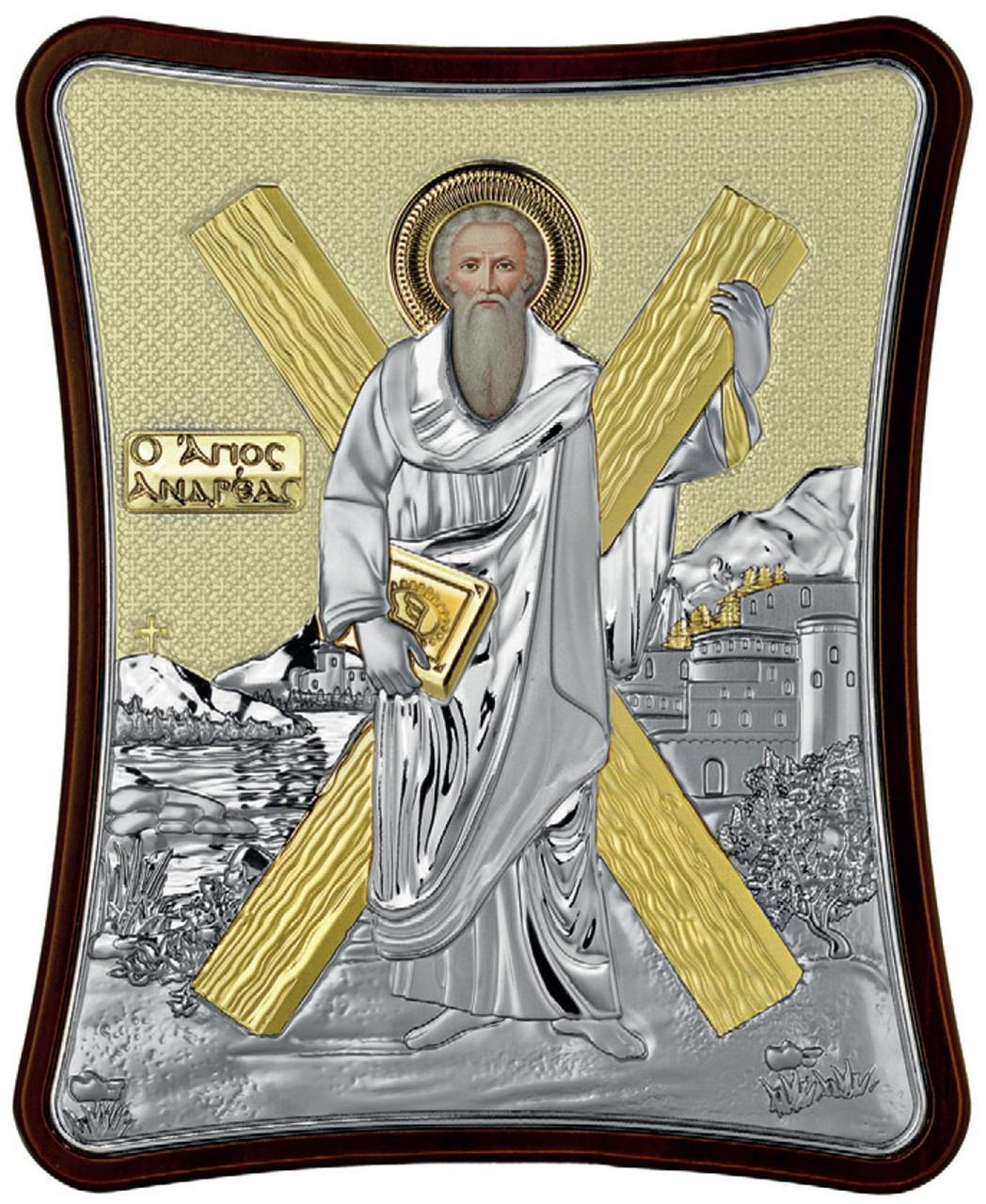Андрей Первозванный 7х6см, в серебряном окладе и золотым фоном. на деревяной основе