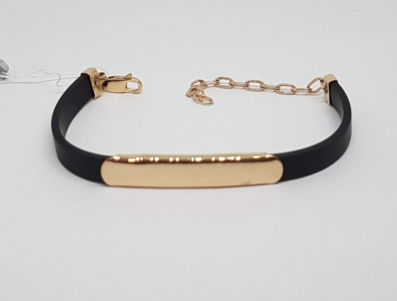 Золотой браслет с каучуком. Артикул БС019И