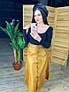 Женская кожаная юбка миди на пуговицах спереди 58wa360, фото 2