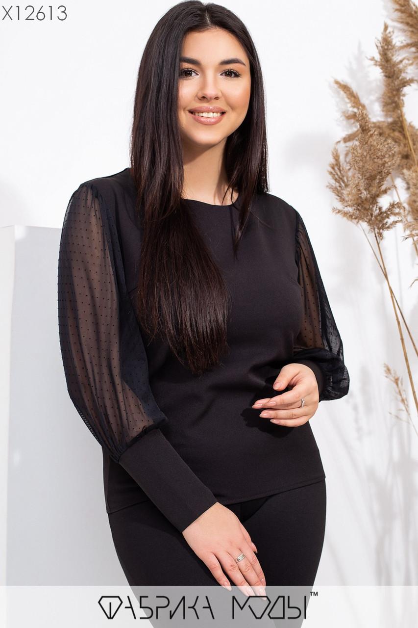 Женская блуза в больших размерах с длинным рукавом из черной сетки 1uk551
