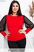 Женская блуза в больших размерах с длинным рукавом из черной сетки 1uk551, фото 3