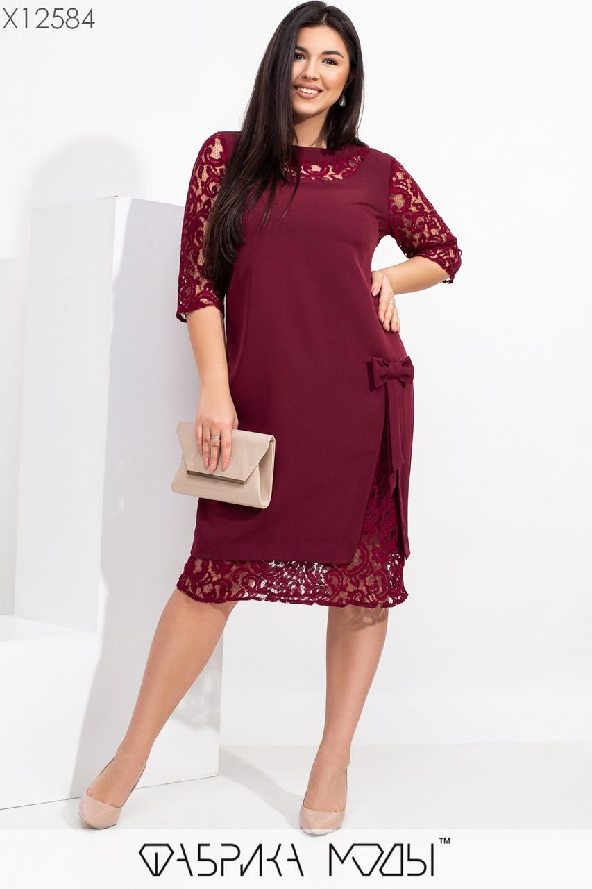 Прямое платье в больших размерах с гипюровыми вставками 1uk560