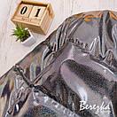 Женская кожаная короткая куртка с голограммой на кнопках 66kur270Q, фото 2