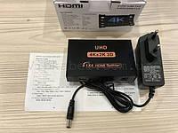 Сплиттер телевизионный 4K HDMI 1x4 порта, разветвитель с блоком питания 1*4