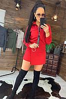 Женский костюм юбка - шорты и бомбер на молнии 44kos504