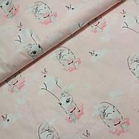 Сатин с зайками на качелях на розовом фоне, ширина 160 см