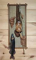 "Резная картина из дерева ""Рыбак ""(кора дуба) м."