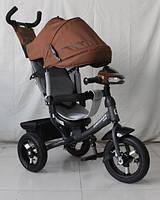 Детский трехколесный велосипед Crosser One T1 с надувными колесами Шоколадный