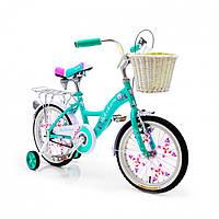 Детский двухколесный велосипед с корзиной BELLISIMA 16 дюймов бирюзовый
