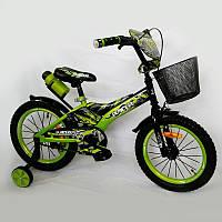 Детский двухколесный велосипед  (от 5 лет) на 16 дюймов Racer салатовый