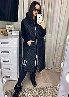 Стеганная женская жилетка,большой размер черный