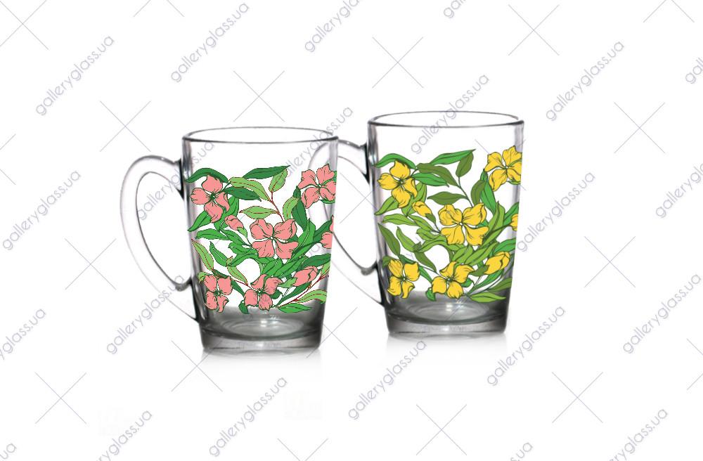 """Чашка скло 300мл """"Ніжні квіти"""" круг.деколь 85004175/Галерея"""