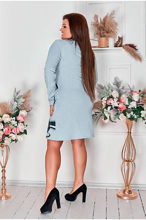Сукня трикотажне жіноче з оригінальним принтом від 48р. (2 кольори), фото 2