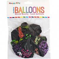 Воздушные шары черные c рисунком микс (8 штук)