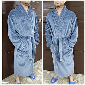 Мужской махровый халат. Ткань турецкая махра. Размеры: 42-46, 48-52. Цвет: голубой.