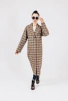 Пальто женское  Соренто прямого кроя в клетку с поясом