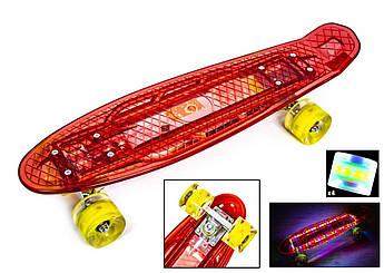 Детский скейт Пенни Светящийся Красный, зарядка от USB