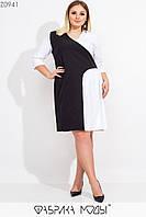 Прямое двухцветное платье в больших размерах с рукавом 3/4 1mbr547, фото 1