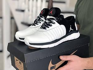Мужские модные кроссовки Nike Air Jordan,кожаные,белые с черным, фото 2