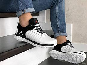 Мужские модные кроссовки Nike Air Jordan,кожаные,белые с черным, фото 3