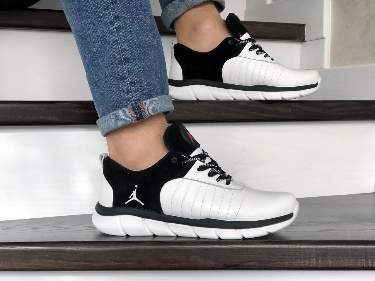 Мужские модные кроссовки Nike Air Jordan,кожаные,белые с черным