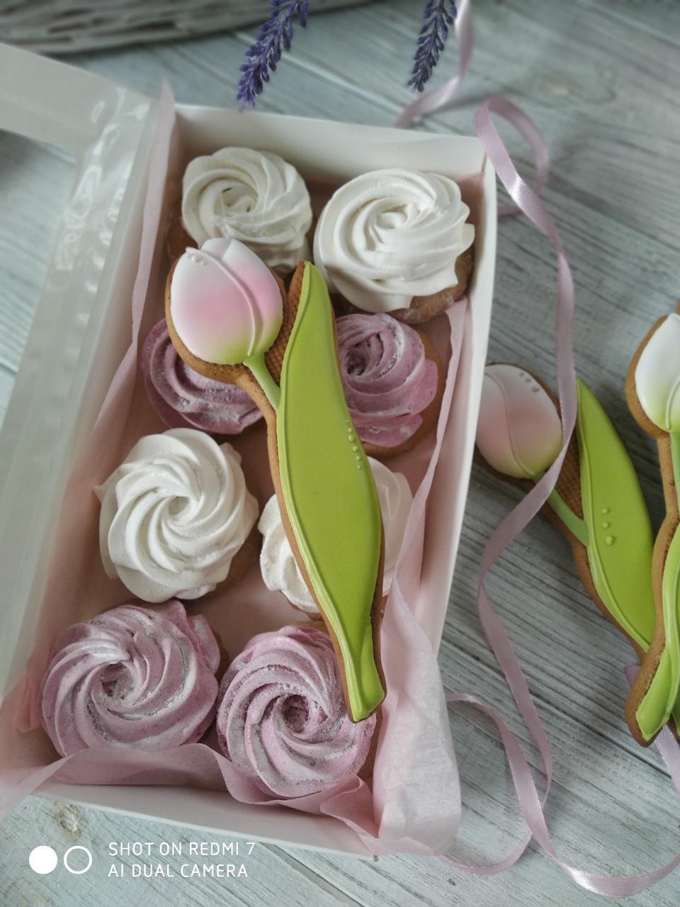Зефиросендвичи, пряник с зефиром к 8 марта (подарок на 8 марта, сладкий подарок)