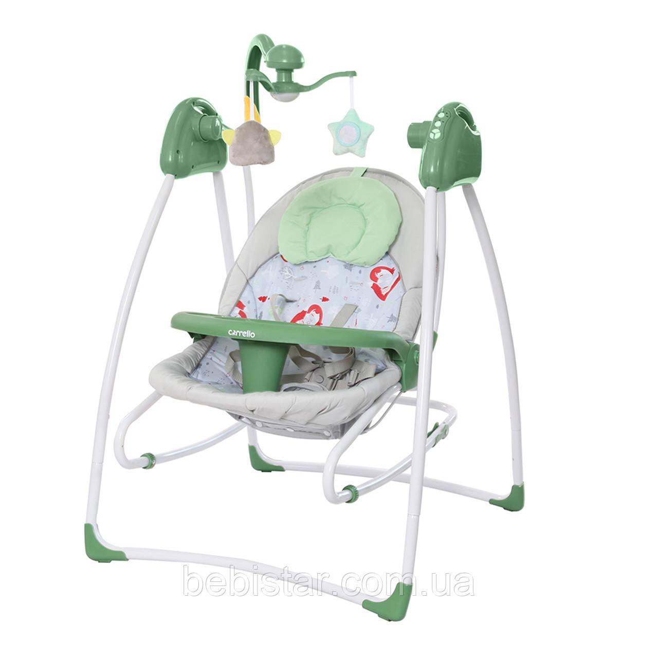 Кресло-качалка шезлонг 3в1 зеленый Carrello Grazia съемный столик вкладыш вращающийся мягкие игрушки