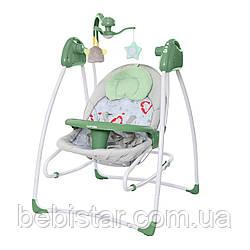 Кресло-качалка шезлонг 3в1 зеленая питание от сети и батареек CARRELLO Grazia CRL-7502 Jade Green с рождения