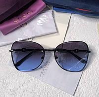 Женские брендовые солнцезащитные очки (6140) dark blue, фото 1
