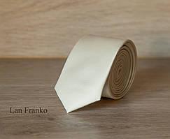 Галстук мужской узкий однотонный бежевый   Lan Franko. Арт.: GMUO022
