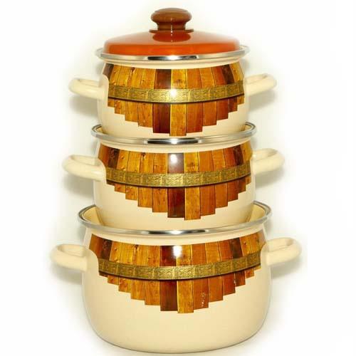 """Набір емаль посуду №946 (3пр 2.5 л 3.5 л 5л ) """"Тин"""" 0533 НМТЗ"""