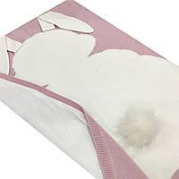 Плед вязанный двухсторонний (90% хлопок, 10% акрил) зайчик белый на розовом 95*75 см