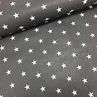 Хлопковая ткань белые средние звезды на черном, фото 1