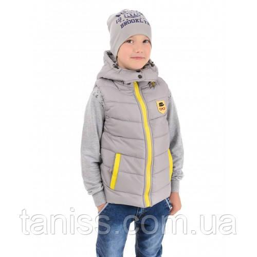 Теплая стильная жилетка для мальчика, съемный капюшон,  рост 98,104,134 Lyuteks  серая