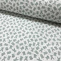 Хлопковая ткань польская зайчики и мишки мелкие мятные на белом, фото 1