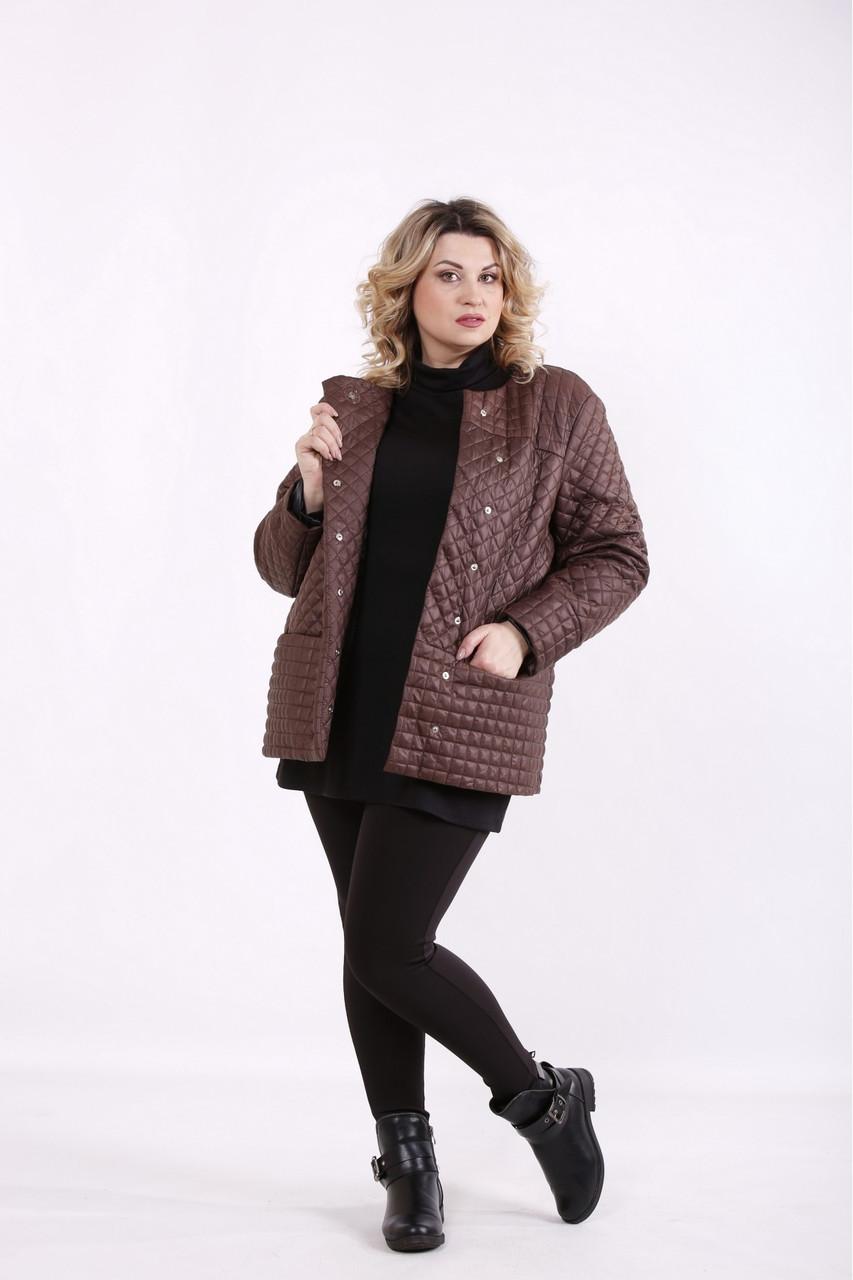 Коричневая стеганая куртка женская демисезонная большого размера 42-74. T01420-3