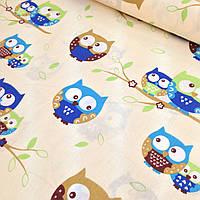 Фланелевая ткань совы сине-коричневые на бежевом №5 Отрез (0,45*1,6м)
