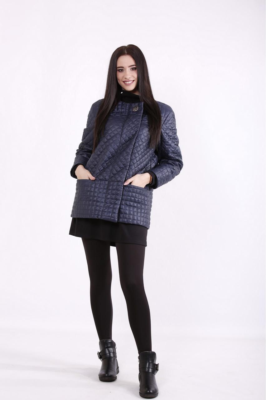Синяя куртка из плащевки женская большого размера 42-74. T01420-1