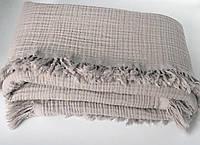 Плед муслиновый (жатка) с бахромой серый 4-x слойнный 80*100см
