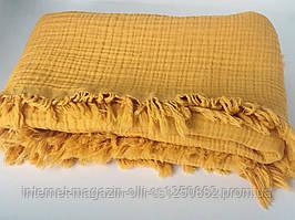 Плед муслиновый (жатка) с бахромой желтый 4-x слойнный 80*100см