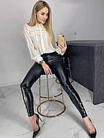 Лосины женские стильные из эко кожи Ткань микро-дайвинг, эко-кожа Цвета: чёрный, фото 1